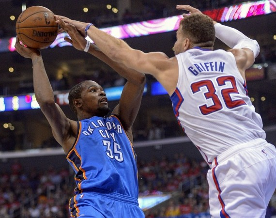 e1fd67be9936 Los Angeles Clippers  Blake Griffin blocks a shot by Oklahoma City Thunder  Kevin Durant.Reuters
