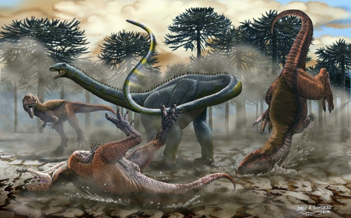 Fossilized bones of the biggest dinosaur, weighing 77 tones, has been discovered.(Illustration)