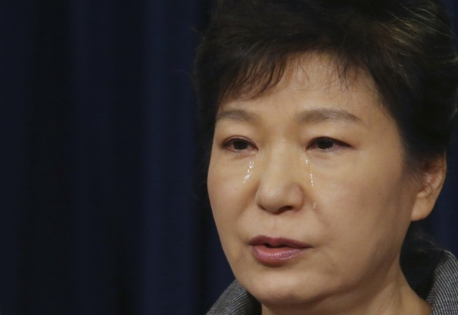 South Korean President Park Geun-hye cries during live telecast where she announced to break up coast guard over the ferry disaster in April.