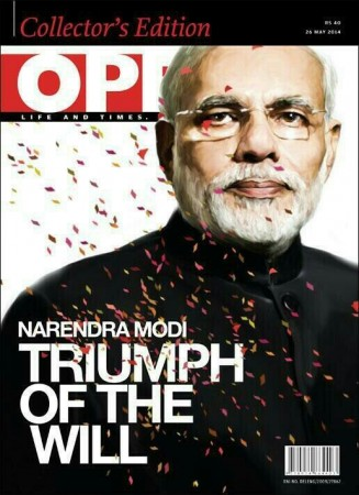 """One of India's English language Magazines has stirred controversy online after it chose to describe the victory of Narendra Modi with Hitler's title """"Triumph of the Will""""."""
