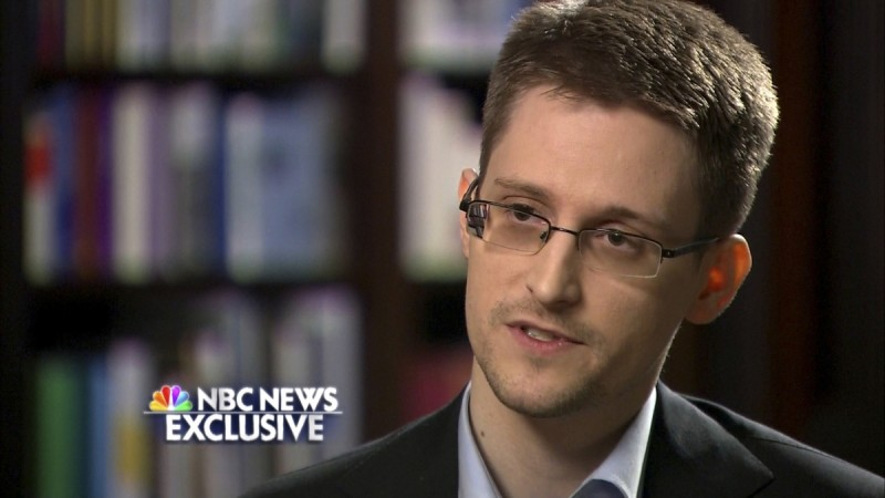 Former U.S. defense contractor Edward Snowden is seen during an interview with