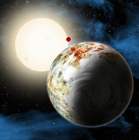 An artist concept shows the Kepler-10 system, home to two rocky planets. In the foreground is Kepler-10c, a planet that weighs 17 times as much as Earth and is more than twice as large in size. This discovery has planet formation theorists challenged to e