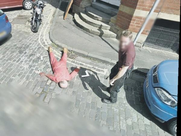 The hoax 'murder scene' in an Edinburgh street was caught on Google's Street View.