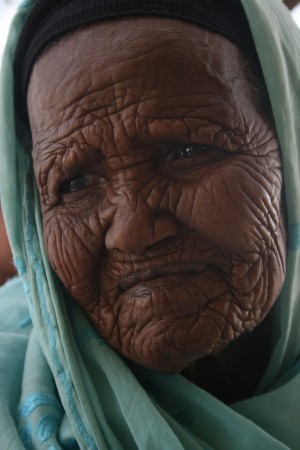 Aged woman, wrinkles