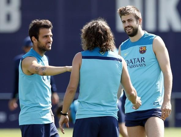 Cesc Fabregas Gerard Pique Barcelona Carles Puyol