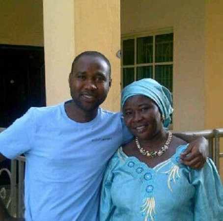 Nigerian Mubarak Bala with his mother