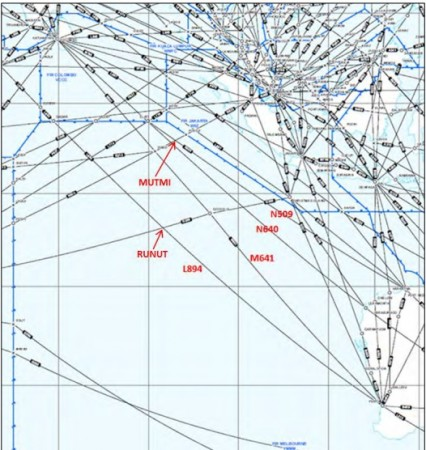 Latest theory on missing MH370 aircraft, says someone in the cockpit deliberately programmed the jet to fly to Australia or Cocos Island. Picture shows Southern Indian Ocean air routes and selected waypoints