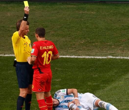 Eden Hazard Belgium Nicola Rizzoli referee yellow card Argentina
