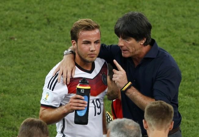 Joachim Loew talks to Mario Goetze