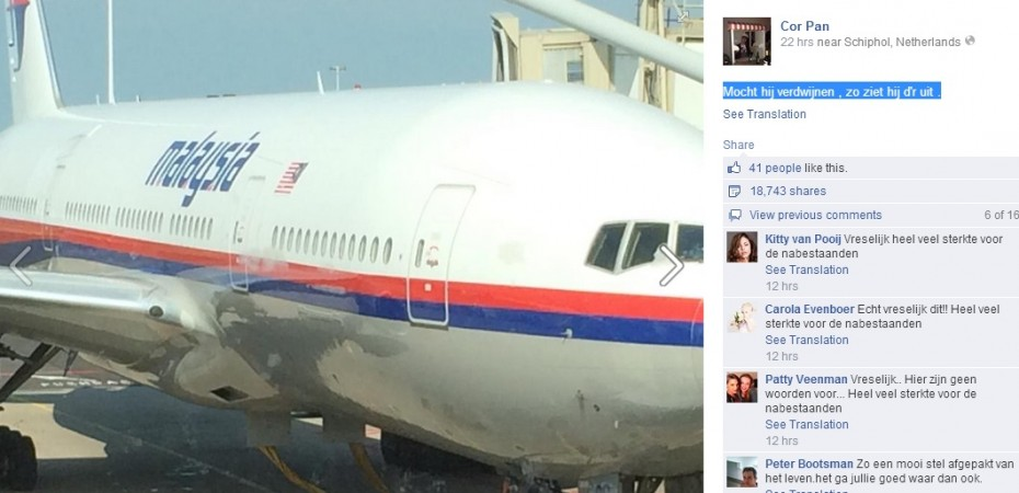 Malaysian Airlines MH17 Shot Down: A Dutch joked about disappearing on the way, and posted the photograph of the plane before taking flight.