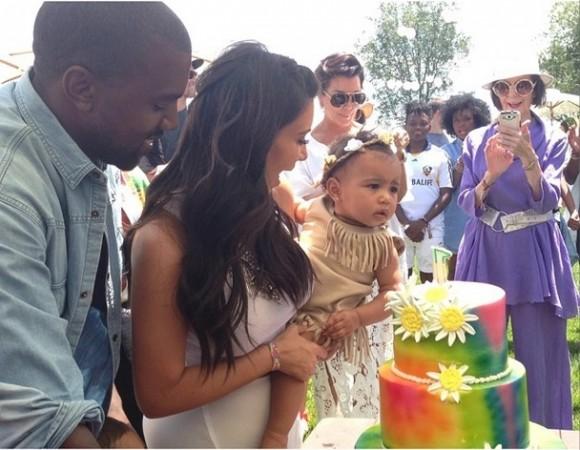 Kim Kardashian selfie with baby North and Kanye West