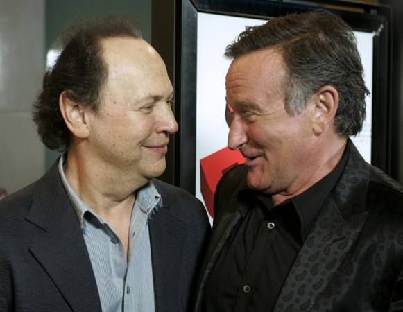 Robin Williams and Billy Crystal at the premier of Williams' film World's Greatest Dad in 2009