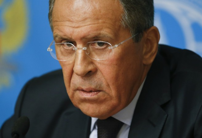 Russia's Foreign Minister Sergei Lavrov attends a news conference in Moscow, August 25.