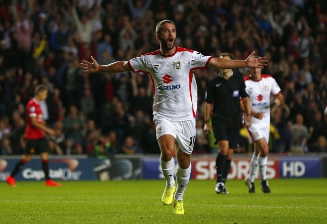 Will Grigg MK Dons Manchester United