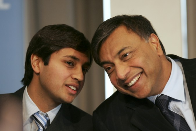 Lakshmi Mittal, head of Mittal Steel, and his son Aditya Mittal, President and CFO.