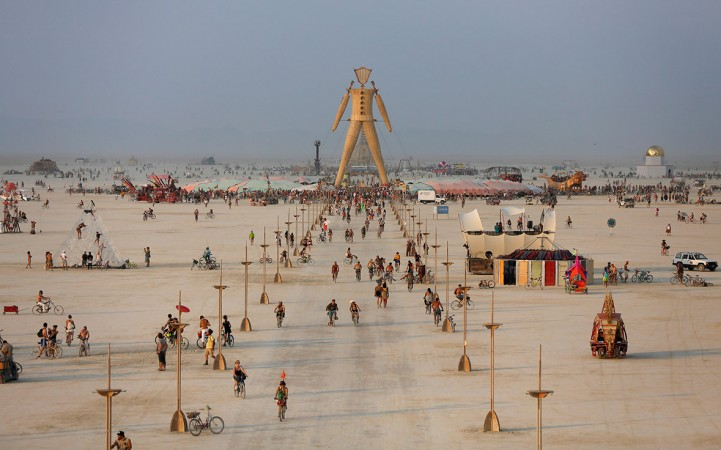 A view of the Playa and the effigy of the Man for the Burning Man 2014 held in the Black Rock Desert of Nevada(Jim Urquhart / Reuters)