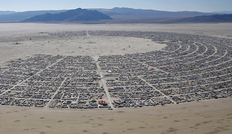 An aerial view of the campsite of the Burning Man 2014 in Nevada. Reports suggest that over 66,000 participated in the week-long festival.