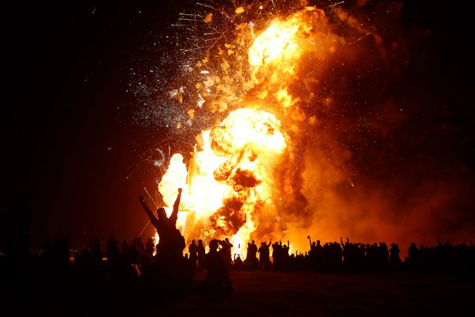 Participants broke out in loud cheer seeing the effigy of The Man burn