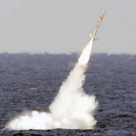 A Tomahawk missile being fired from a US Submarine.