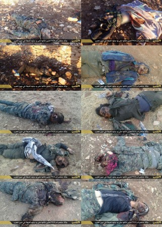 ISIS have posted pictures of dead Kurdish soldiers,including female fighters executed by the Sunni militants.