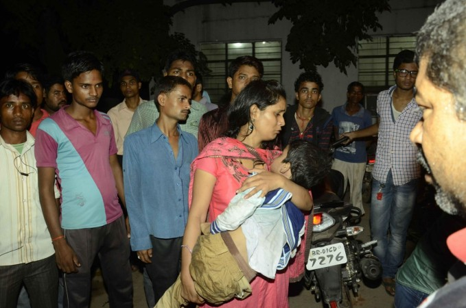 A victim of Gandhi Maidan stampede being taken to Patna Medical College and Hospital for treatment in Patna. IANS