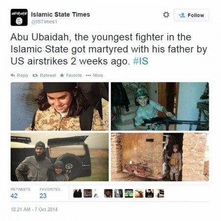 The Islamic State has announced the killing of its youngest fighter, a 10-year-old named al-Abu Obeida al-Absi.