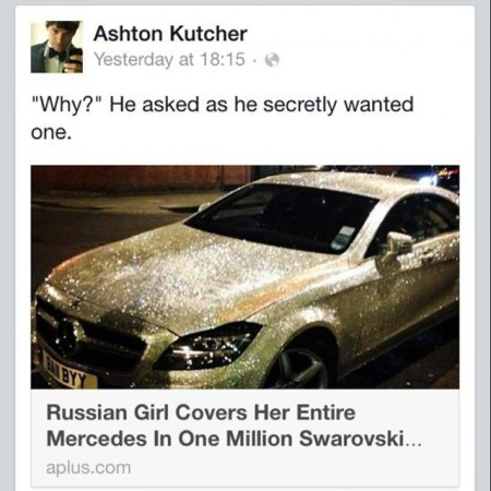 Ashton Kutcher posts about his desire to own a car encrusted with 1 million Swarovski crystals