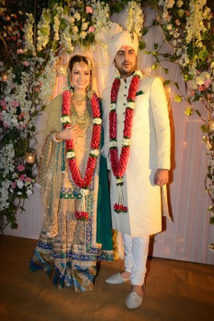 Dia Mirza Weds Long-Time Beau Sahil Sangha, Looks Splendid in Ritu Kumar Lehenga