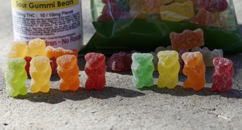 Marijuana-infused sour gummy bear candies