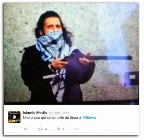 A picture of Michael Zehaf-Bibeau, the suspected Ottawa shooter posted on Twitter.