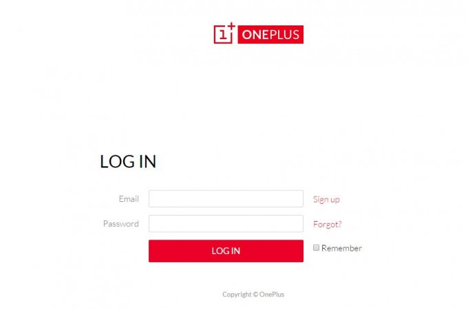 OnePlus One log-in page