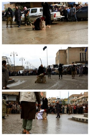 Three men were reportedly beheaded on the streets of Raqqa for 'insulting Allah.'