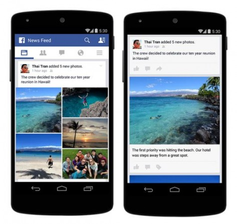 Improved photo story feature of Facebook