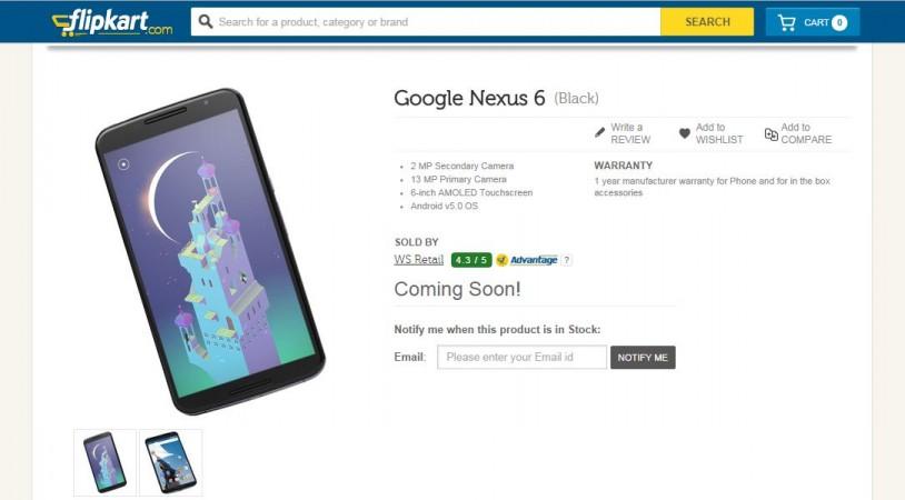 Google Nexus 6 Listed on Flipkart