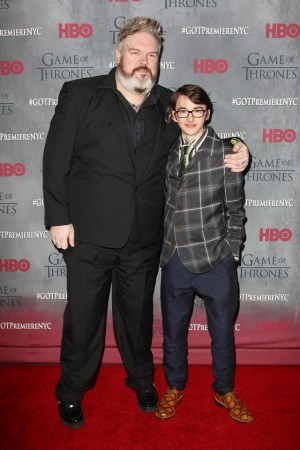 Kristian Nairn and Isaac Hempstead Wright who play Hodor and Bran Stark in Game of Thrones
