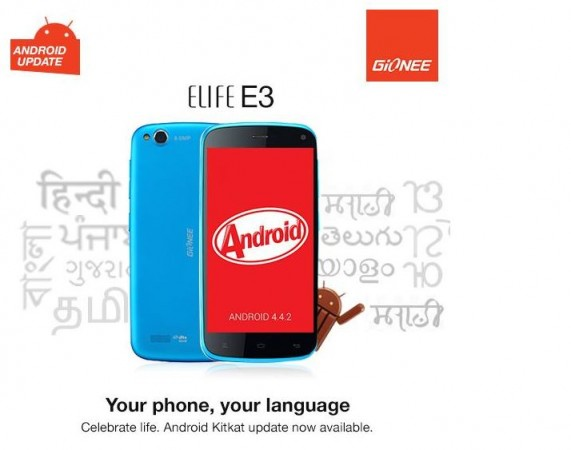 Android 4.4 KitKat Released Gionee Elife E3 in India; Brings 9 Regional Dialects Support and More