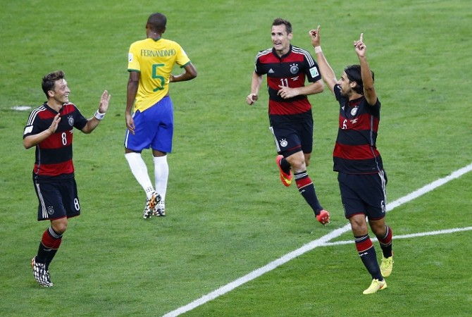 Mesut Ozil Miroslav Klose Sami Khedira Germany Brazil