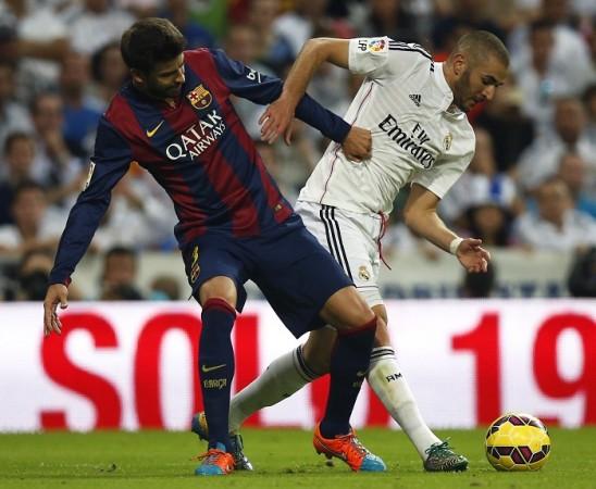 Gerard Pique Barcelona Karim Benzema Real Madrid