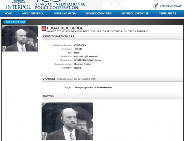 Sergei Pugachev on Interpol's Wanted List
