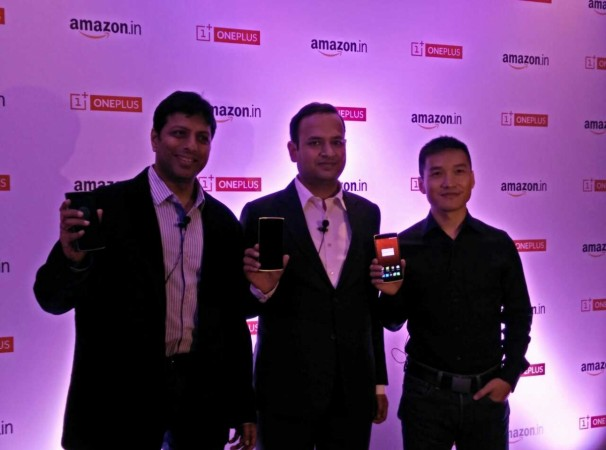 OnePlus One India Launch:From right Pete Lou (OnePlus, CEO), Vikas Agarwal (OnePlus India, GM) and Amit Agarwal (VP and Country Manager of Amazon India)
