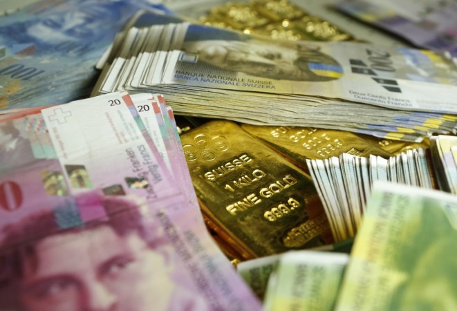 Gold bars and Swiss Franc
