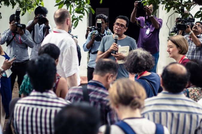 Kochi-Muziris Biennale 2014 curator Jitesh Kallat speaks to the media