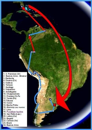 Map of Che Guevara's trip with Alberto Granado depicted in 'The Motorcycle Diaries'