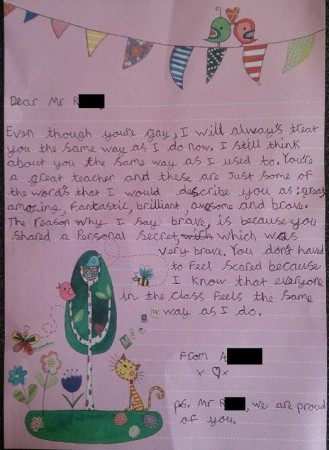 9-Year-Old Writes Moving Letter to Teacher Who came Out as Gay