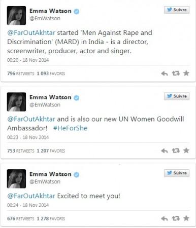 Emma Watson tweets about farhan akhtar