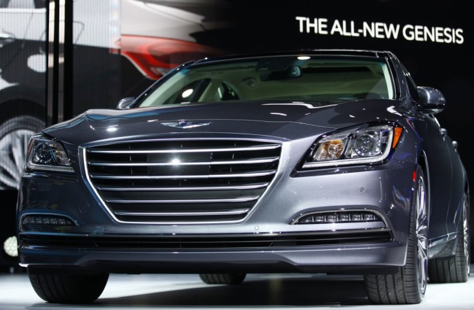 The new Hyundai Genesis is displayed during the press preview day of the North American International Auto Show in Detroit, Michigan