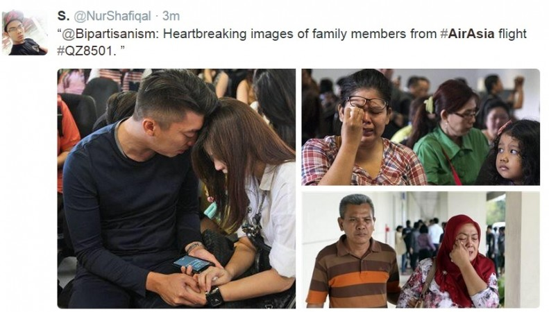 Grieving relatives of the missing passengers on AirAsia.