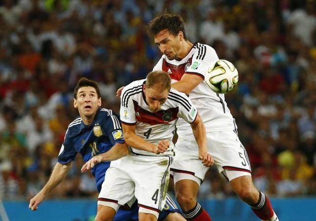 Lionel Messi Argentina Benedikt Howedes Mats Hummels Germany
