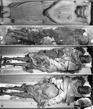Views of Cangrande's body in his tomb.