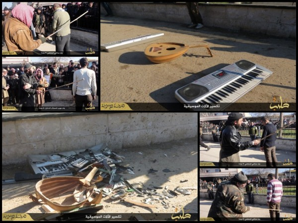 Men being punished in Syria by ISIS police for playing Music.